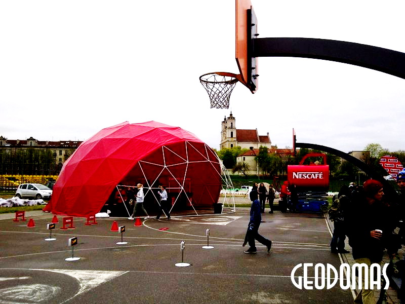 Geodesic Red Dome Ø11m for Event prepared NESCAFE brand, Vilnius, Lithuania