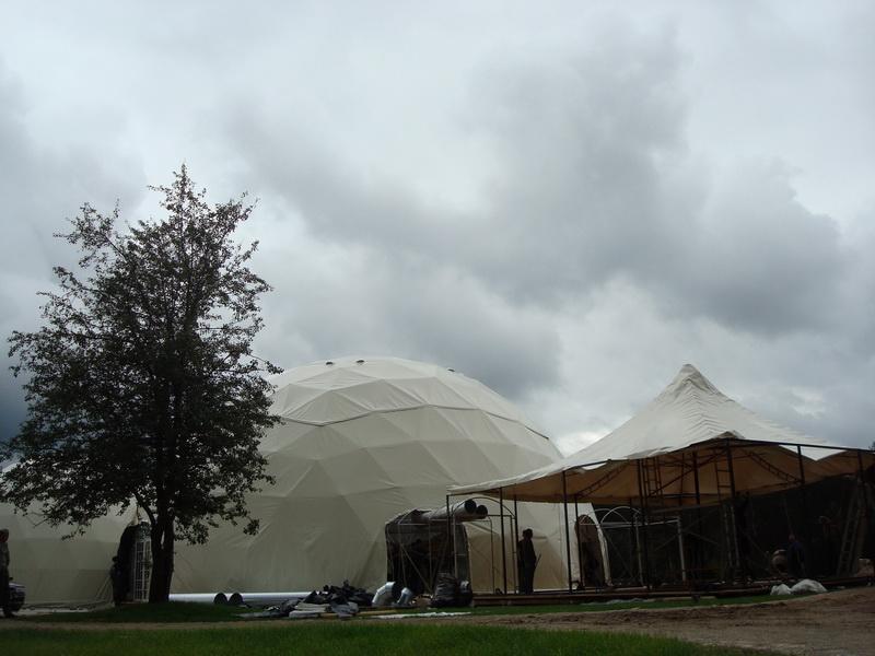 Centrum Rekreacyjny 559m2, Namioty Kuliste Sferyczne Ø20m & Ø13m, Jusine, Wilno