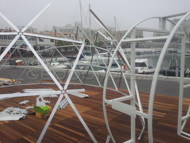 Restauracja 50m2 Kopuła szklana Sferyczna Ø8m, Puerto de Ceuta, Hispania