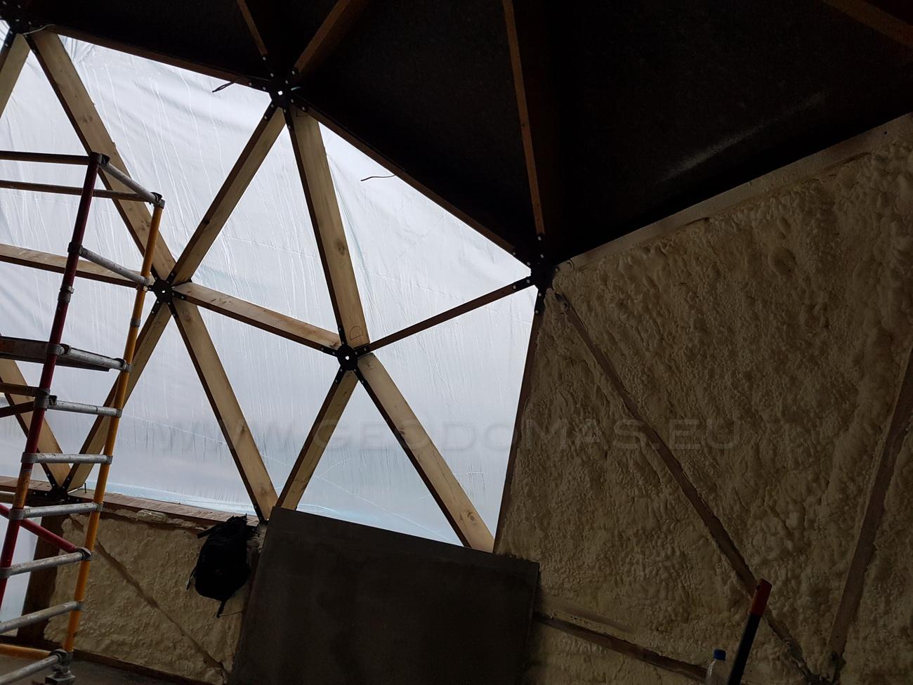 Okrągły dom 125m2 Kopuła geodezyjna Ø12m, Szerwinty, Litwa