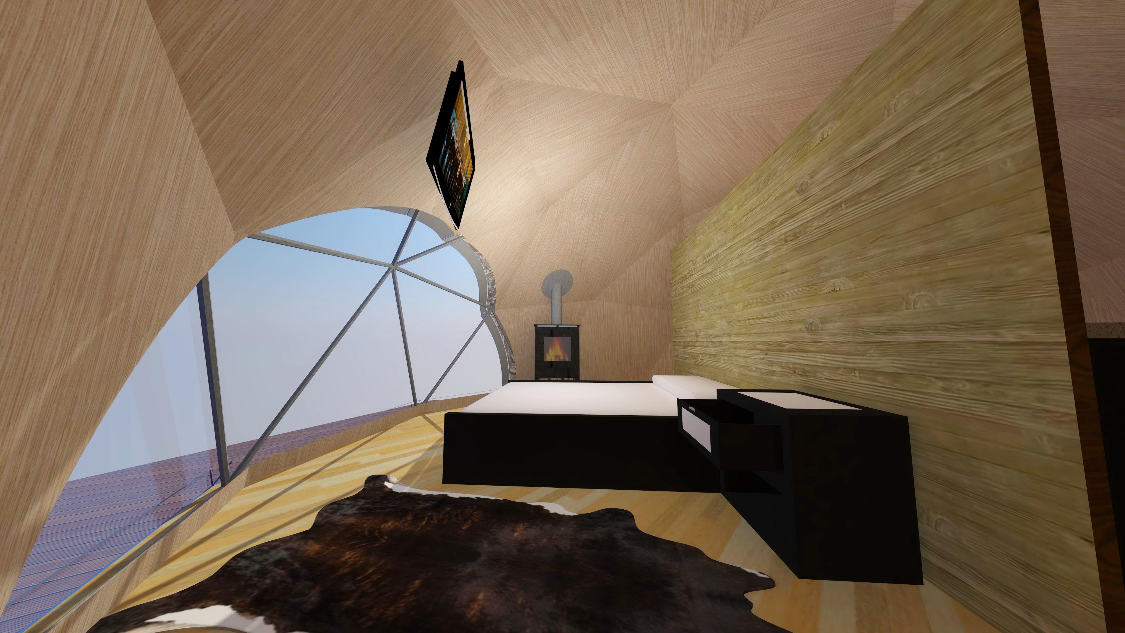 Domek Kulisty Całoroczny 28m2 Ø6m F2 z WC i Prysznicem | Glamping