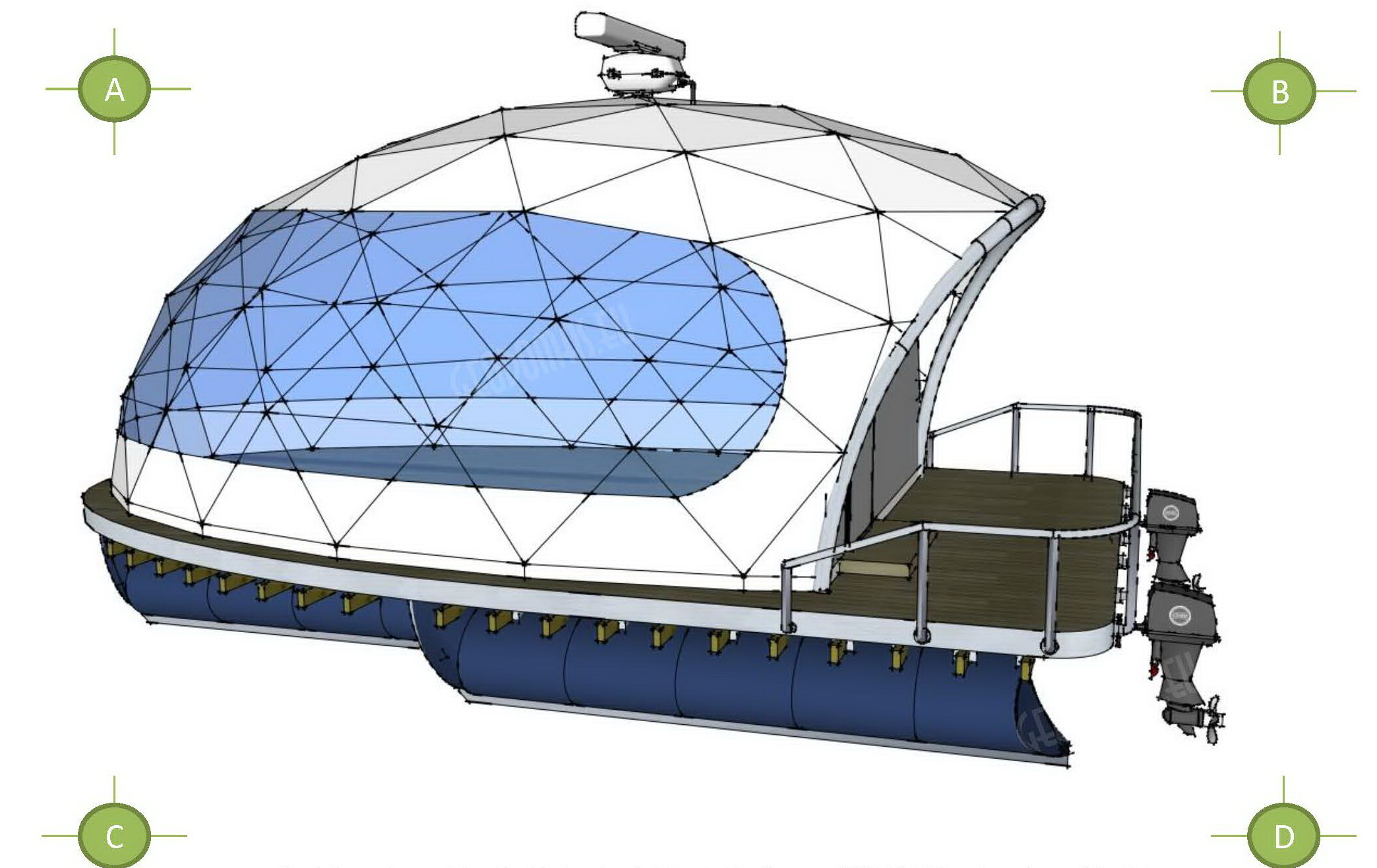 27m² Floating Glamping Dome Ø7m | Recreational Yacht, Trakai