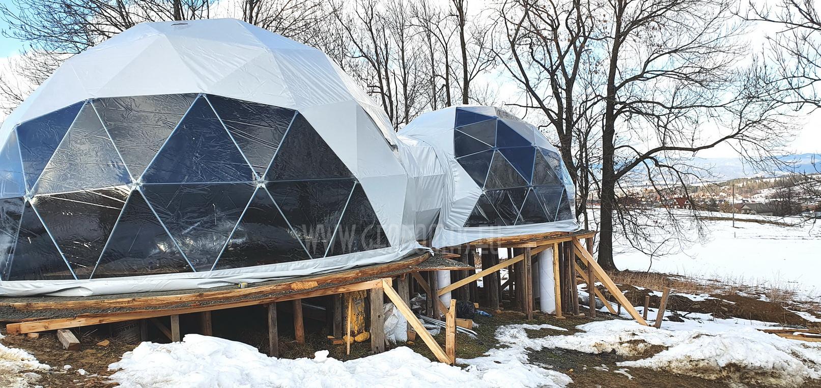 35m²+ 20m² Glamping SPA Domes Ø6,7m & Ø5m   Zakopane Resort, Poland
